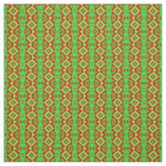 Bright green red fractal fabric