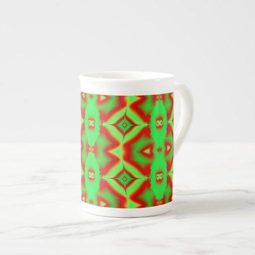 bright green red fractal bone china mug