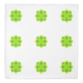 Bright Green Reversible Floral Print Duvet Cover