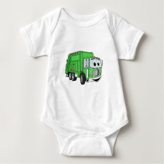 Bright Green Smiling Garbage Truck Cartoon Baby Bodysuit