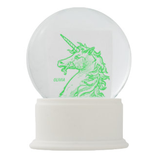 Bright Green Unicorn Magical Horse Add Name Snow Globe