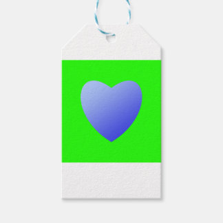 Bright green with blue heart gift tags