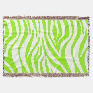 Bright Green Zebra Animal Print Pattern Throw Blanket