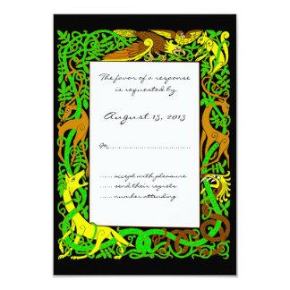 "Bright Greens Celtic Animals Design Wedding RSVP 3.5"" X 5"" Invitation Card"