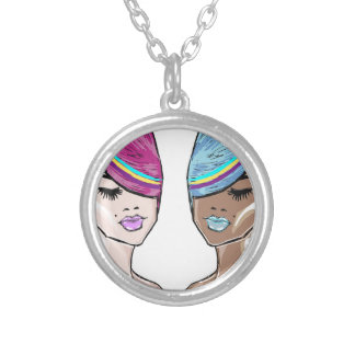 Bright Hair Model Sketch Silver Plated Necklace