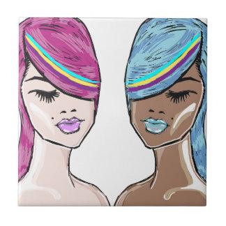 Bright Hair Model Sketch Tile