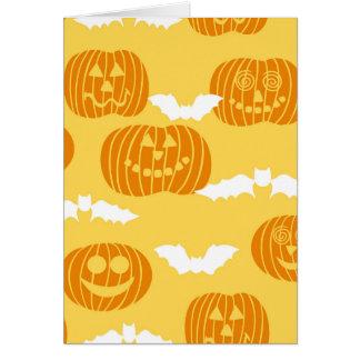 Bright Halloween Pumpkin Bat Design Card