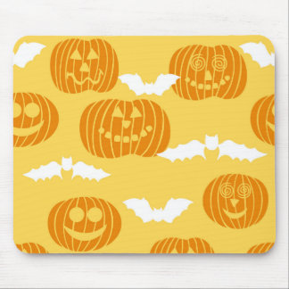 Bright Halloween Pumpkin Bat Design Mousepads