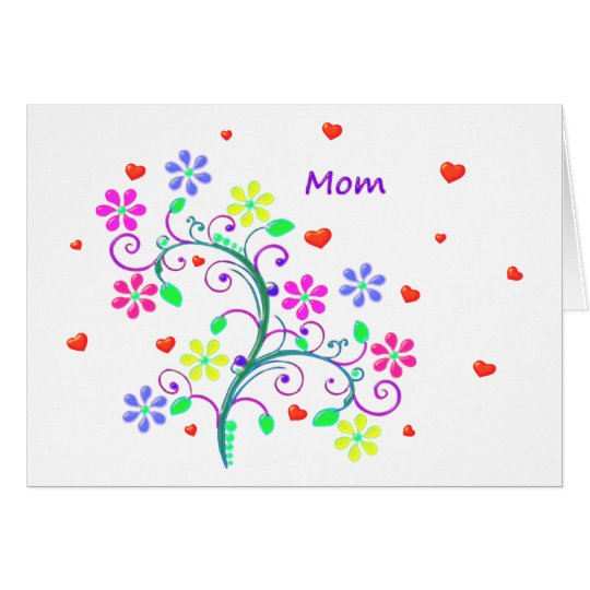 Bright Happy Easter Mom - Floral, Swirls, Hearts Card