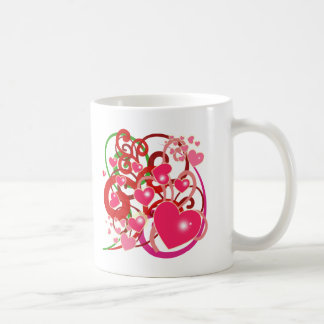Bright Hearts and Scrolls for Lovers Coffee Mug