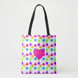 Bright Hearts Pattern Tote Bag