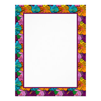 Bright Hibiscus Border Stationery