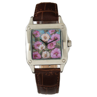 """""""Bright Hollyhocks"""" Square Watch w/ Leather Band"""