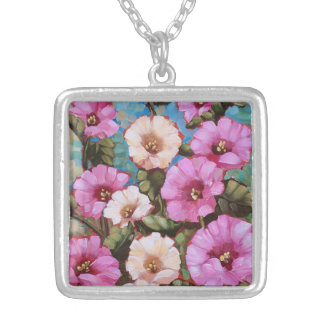 """Bright Hollyhocks"" Sterling Silver Necklace"