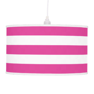 Bright/Hot Pink and White Striped Pendant Lamp