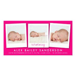 Bright Hot Pink Birth Announcement Multiple Photos Custom Photo Card