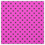 Bright Hot Pink Black Spotty Polka Dot Pattern Fabric