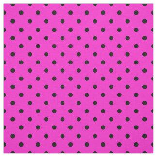 Bright Hot Pink Black Spotty Polka Dot Pattern Fabric