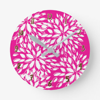 Bright Hot Pink Modern Floral Personalized Round Clock