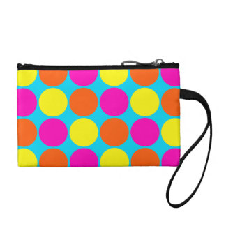 Bright Hot Pink Orange Yellow Polka Dots Pattern Change Purses