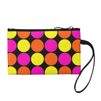 Bright Hot Pink Orange Yellow Polka Dots Pattern Coin Wallet
