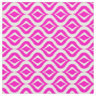 Bright Hot Pink Retro Chic Ikat Drops Pattern Fabric