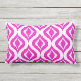 Bright Hot Pink Retro Chic Ikat Drops Pattern Outdoor Pillow