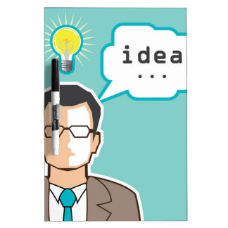 Bright Idea Man vector Illustration Dry Erase Board