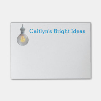 Bright Ideas Lightbulb | Custom Name Template Post-it Notes