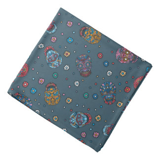 Bright jeans blue mexican floral skull pattern bandannas
