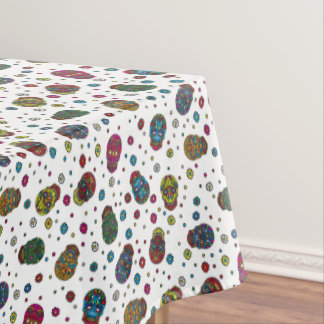 Bright jeans blue mexican floral skull pattern tablecloth