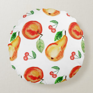Bright kithcen watercolor decorative fruit round pillow