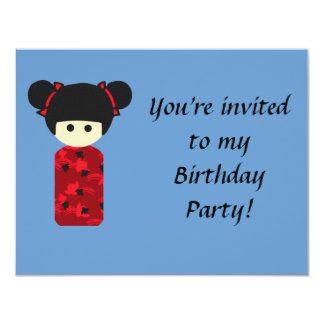 Bright Kokeshi Birthday Invitation