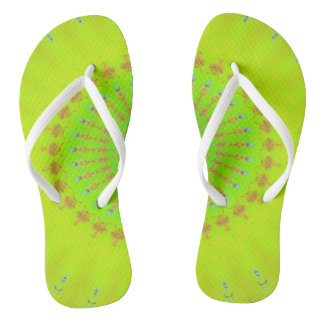 Bright Lemon Lime Neon Pop Mandala Flip Flops