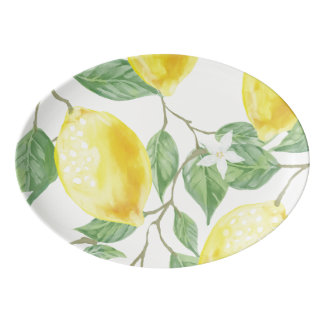 Bright Lemon Print Platter in Yellow and Green