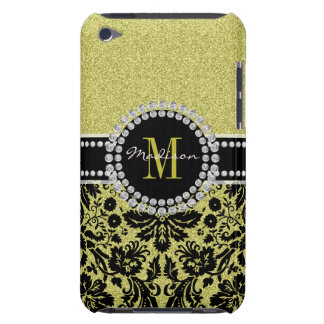 Bright light gold glitter Damask, Name & Monogram Barely There iPod Cover