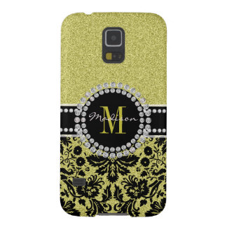 Bright light gold glitter Damask, Name & Monogram Case For Galaxy S5