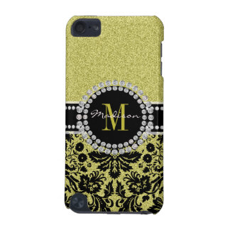 Bright light gold glitter Damask, Name & Monogram iPod Touch (5th Generation) Case