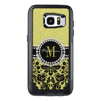 Bright light gold glitter Damask, Name & Monogram OtterBox Samsung Galaxy S7 Edge Case