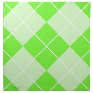 Bright Lime Green Argyle Printed Napkin