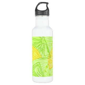 Bright lime green citrus lemons pattern 710 ml water bottle