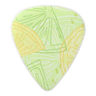 Bright lime green citrus lemons pattern acetal guitar pick