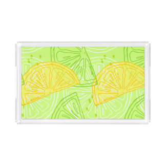 Bright lime green citrus lemons pattern acrylic tray