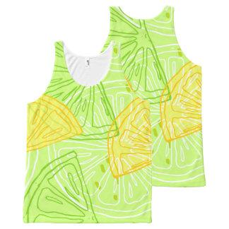 Bright lime green citrus lemons pattern All-Over-Print tank top
