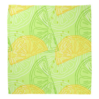 Bright lime green citrus lemons pattern bandana