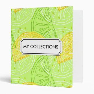 Bright lime green citrus lemons pattern binder
