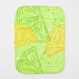 Bright lime green citrus lemons pattern burp cloth