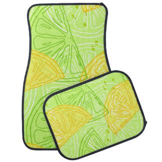 Bright lime green citrus lemons pattern car mat