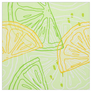 Bright lime green citrus lemons pattern fabric