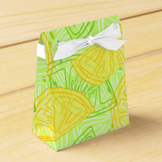 Bright lime green citrus lemons pattern favor box